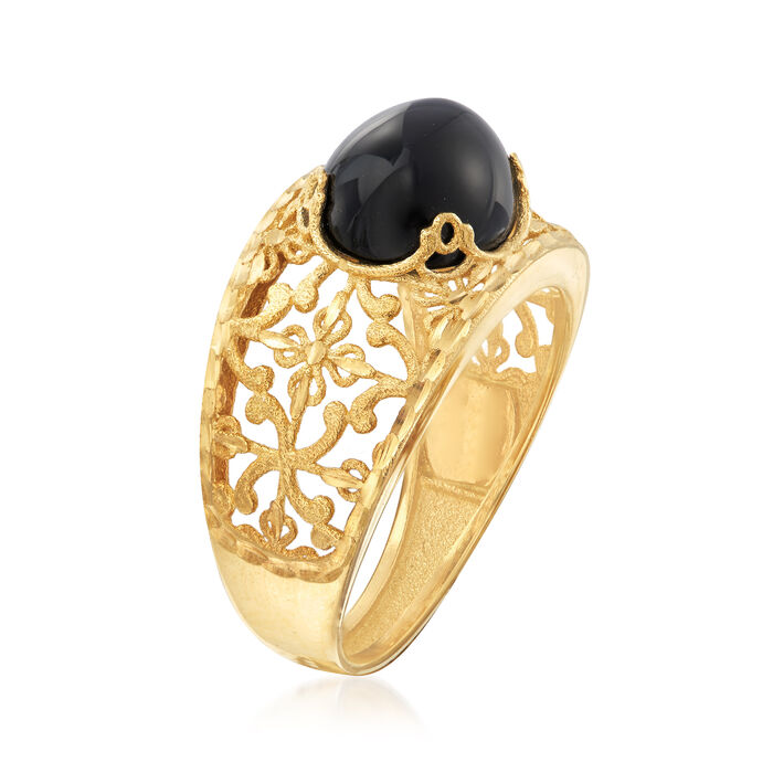 Italian Black Agate Filigree Ring in 14kt Yellow Gold