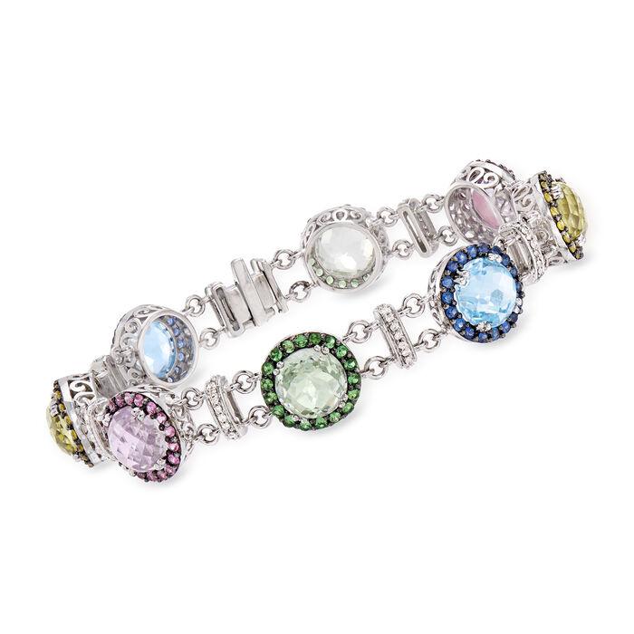 "C. 2000 Vintage 26.85 ct. t.w. Multi-Gemstone and .35 ct. t.w. Diamond Bracelet in 14kt White Gold. 7.75"", , default"