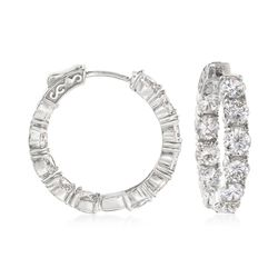 "10.00 ct. t.w. CZ Inside-Outside Hoop Earrings in Sterling Silver. 1"", , default"