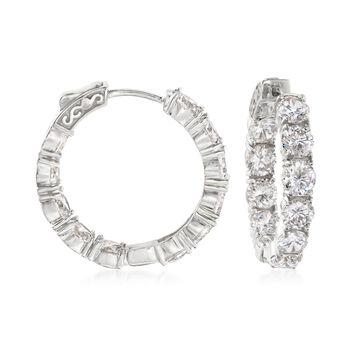 """10.00 ct. t.w. CZ Inside-Outside Hoop Earrings in Sterling Silver. 1"""", , default"""