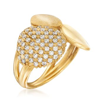 Italian .50 ct. t.w. CZ Multi-Texture Ring in 18kt Gold Over Sterling Silver, , default