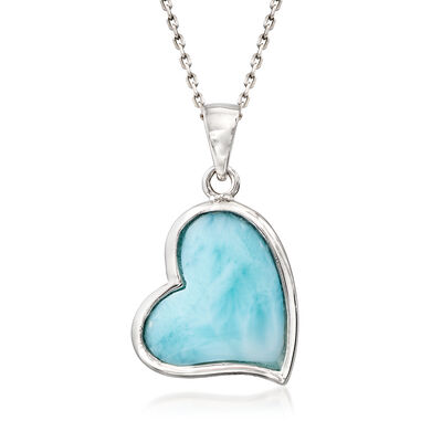 Larimar Heart Pendant Necklace in Sterling Silver