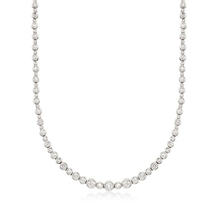 3.50 ct. t.w. Diamond Bubble Bezel Necklace in 14kt White Gold