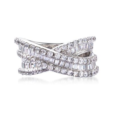 3.00 ct. t.w. Round and Baguette Diamond Crisscross Ring in Sterling Silver, , default