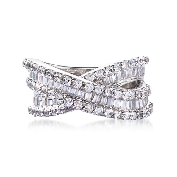 3.00 ct. t.w. Round and Baguette Diamond Crisscross Ring in Sterling Silver