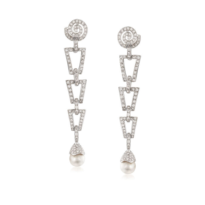 C. 1980 Vintage 2.00 ct. t.w. Diamond and 7.5mm Cultured Pearl Earrings in 18kt White Gold, , default