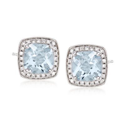 2.60 ct. t.w. Aquamarine and .20 ct. t.w. Diamond Earrings in 14kt White Gold, , default