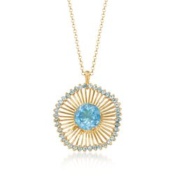 "10.30 ct. t.w. Blue Topaz Pendant Necklace in 18kt Gold Over Sterling. 18"", , default"