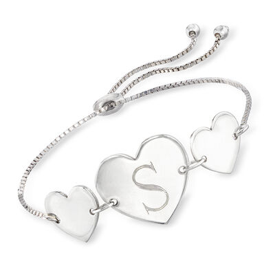Sterling Silver Personalized Heart Bolo Bracelet