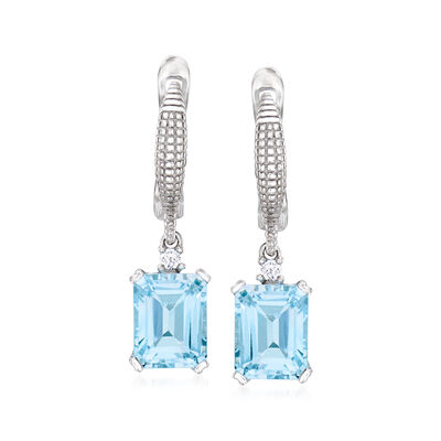 6.00 ct. t.w. Sky Blue Topaz Drop Earrings with White Topaz Accents in Sterling Silver