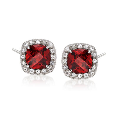 1.00 ct. t.w. Garnet and .10 ct. t.w. White Topaz Stud Earrings in Sterling Silver, , default