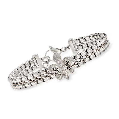Stainless Steel and Sterling Silver Fleur-De-Lis Link Bracelet with Diamond Accents