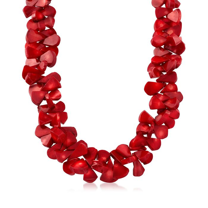 """Coral Bead Cluster Necklace with Sterling Silver. 18"""""""