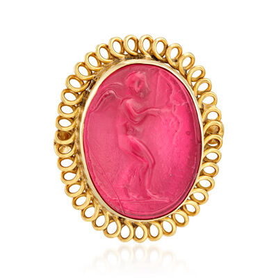 Italian Red Venetian Glass Intaglio and Mother-Of-Pearl Ring in 18kt Gold Over Sterling