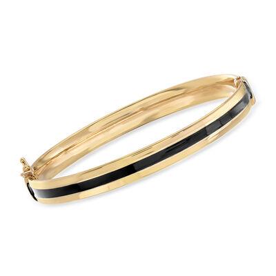 Italian 14kt Yellow Gold and Black Enamel Bangle Bracelet, , default