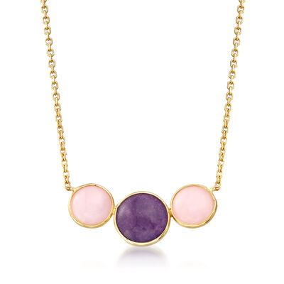 Italian Pink Opal and 1.20 Carat Purple Quartz Necklace in 14kt Yellow Gold, , default