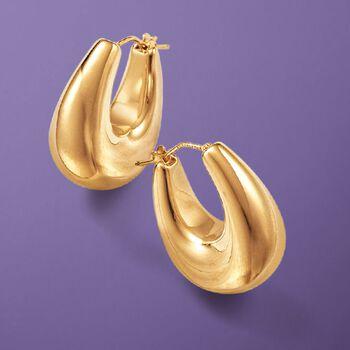 """Andiamo 14kt Yellow Gold Puffed Hoop Earrings. 1"""""""
