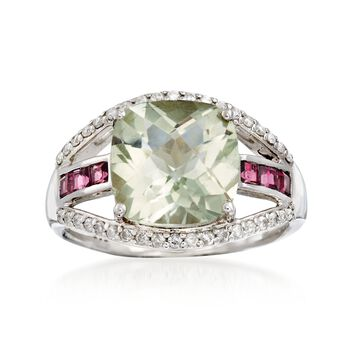 4.20 Carat Green Amethyst and .40 ct. t.w. Rhodolite Garnet Ring With Diamonds in 14kt White Gold, , default
