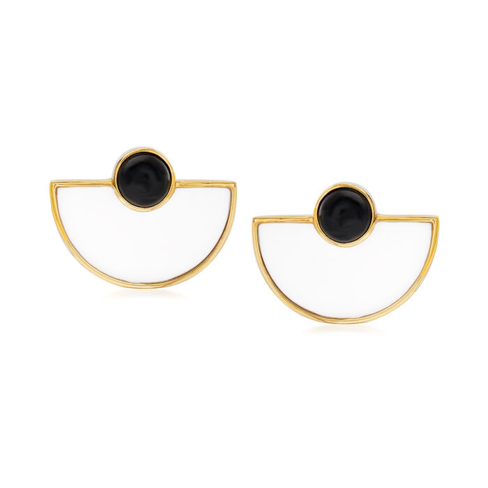 Black and White Agate Earrings in 18kt Gold Over Sterling, , default