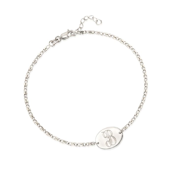 Sterling Silver Single Initial Oval Plate Anklet