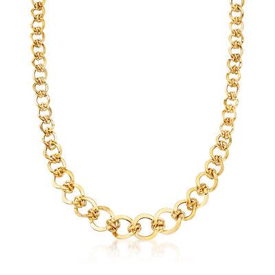 Italian 14kt Yellow Gold Graduated Interlocking Link Necklace, , default