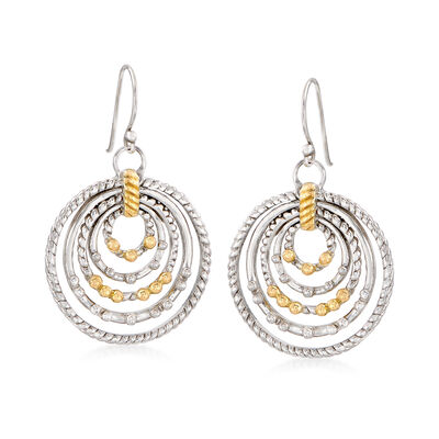 Sterling Silver and 14kt Yellow Gold Nested Circle Drop Earrings, , default