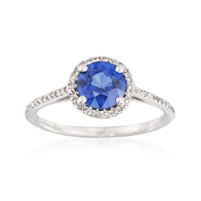 1.10 Carat Sapphire and .15 ct. t.w. Diamond Ring in 14kt White Gold, , default