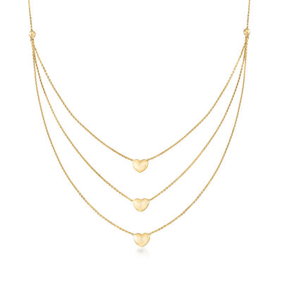 14kt Yellow Gold Triple-Strand Heart Necklace, , default