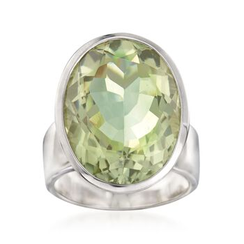 17.00 Carat Green Amethyst Ring in Sterling Silver. Size 5, , default