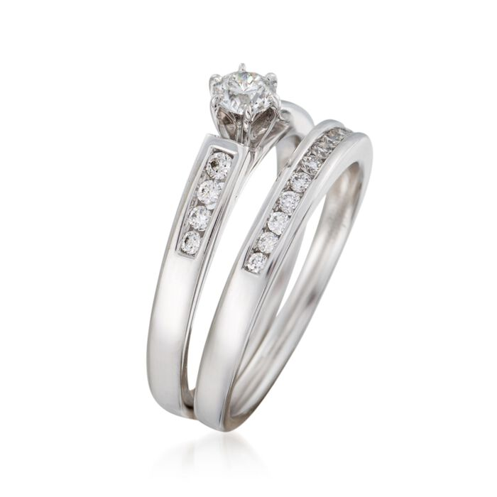 .51 ct. t.w. Diamond Bridal Set: Engagement and Wedding Rings in 14kt White Gold