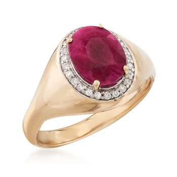 2.20 Carat Burmese Ruby and .12 ct. t.w. Diamond Ring in 14kt Yellow Gold
