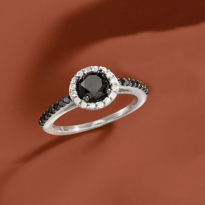 1.50 ct. t.w. Black and White Diamond Halo Ring in Sterling Silver