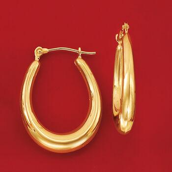 """14kt Yellow Gold Oval Hoop Earrings. 7/8"""""""
