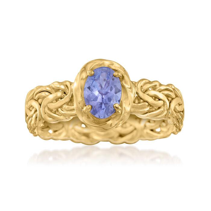 .60 Carat Tanzanite Byzantine Ring in 14kt Yellow Gold