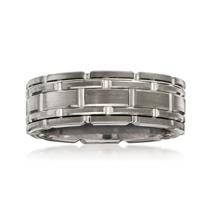 Men's 8mm Tungsten Carbide Link Wedding Ring, , default