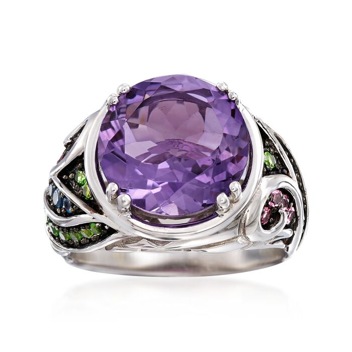 5.50 Carat Amethyst and .50 ct. t.w. Multi-Stone Ring in Sterling Silver
