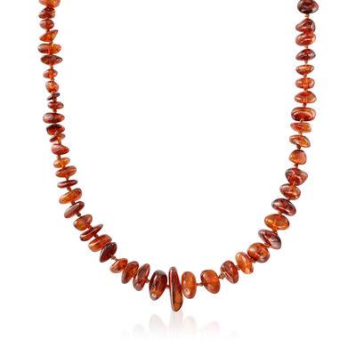 C. 1970 Vintage Free-Form Amber Bead Necklace, , default
