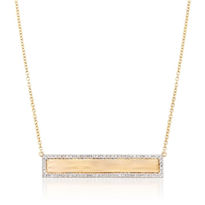 .21 ct. t.w. Diamond Name Bar ID Necklace in 14kt Yellow Gold, , default
