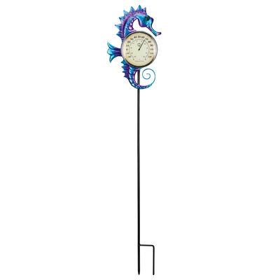 Regal Seahorse Thermometer Solar Garden Stake, , default