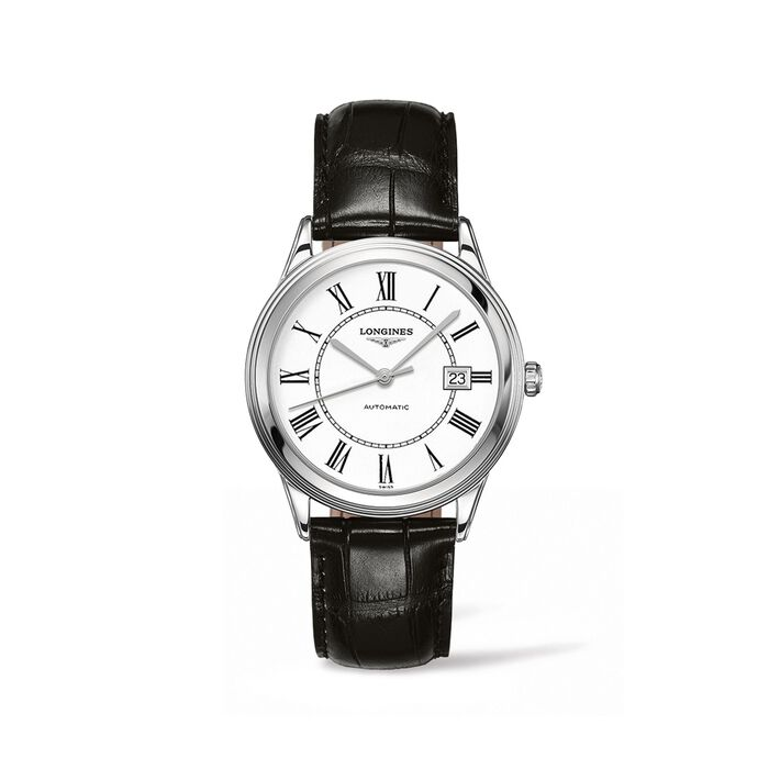 Longines Flagship Men's 38.5mm Automatic Stainless Steel Watch with Black Leather - White Dial