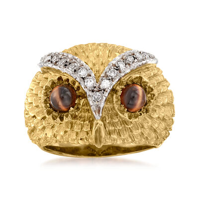 C. 1970 Vintage Tigereye and .25 ct. t.w. Diamond Owl Ring in 18kt Yellow Gold