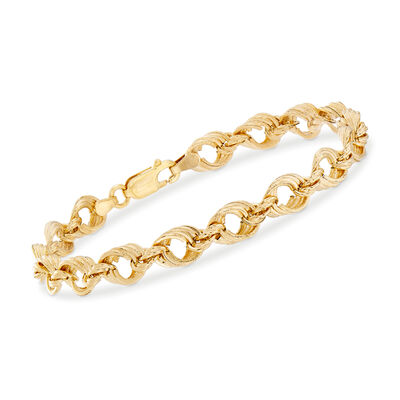 Italian Textured and Polished 14kt Yellow Gold Link Bracelet, , default