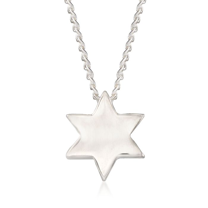 """Zina Sterling Silver """"Contemporary"""" Star of David Necklace. 17"""", , default"""