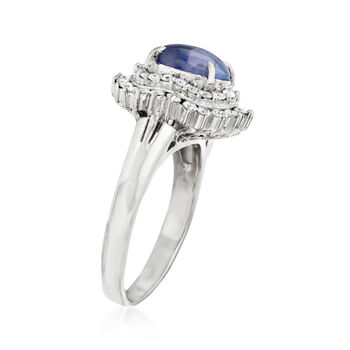 C. 1980 Vintage 2.90 Carat Star Sapphire and .59 ct. t.w. Diamond Ring in Platinum. Size 7