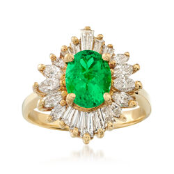 C. 1970 Vintage 1.30 Carat Emerald and 1.10 ct. t.w. Diamond Ring in 18kt Yellow Gold. Size 6, , default