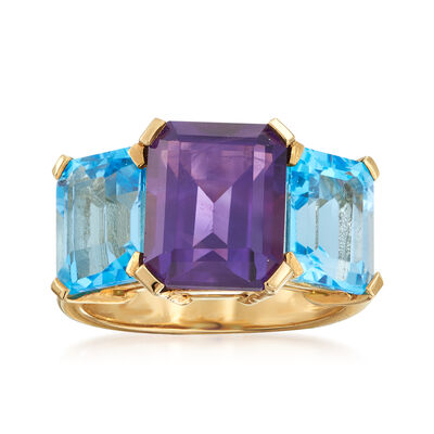 C. 1990 Vintage 3.00 Carat Amethyst and 3.60 ct. t.w. Blue Topaz Ring in 14kt Yellow Gold, , default