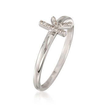 """Diamond Accent Mini Initial """"K"""" Ring in Sterling Silver, , default"""