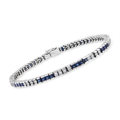 C. 1980 Vintage 3.20 ct. t.w. Sapphire and 2.04 ct. t.w. Diamond Line Bracelet in Platinum