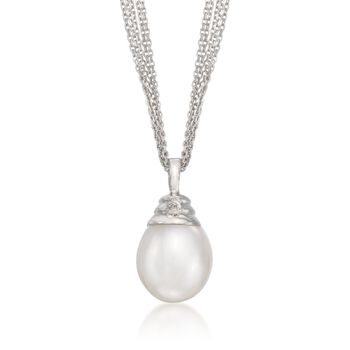 11-12mm Cultured Pearl Necklace With Diamond Accent in Sterling Silver, , default