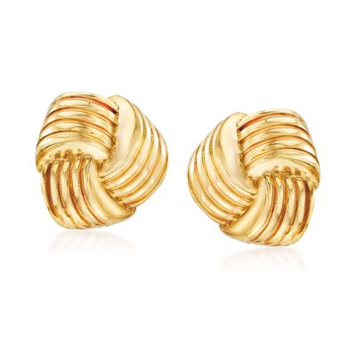 Italian 14kt Yellow Gold Puffed Knot Clip-On Earrings, , default